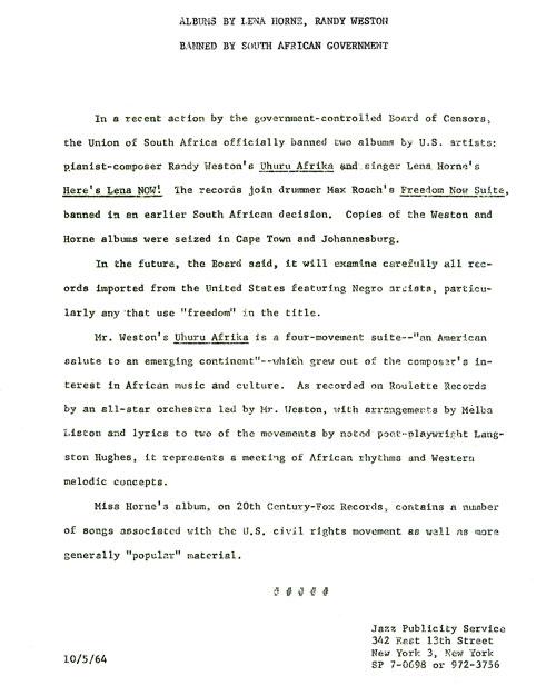 Uhuru Afrika Banned in South-Africa 1964